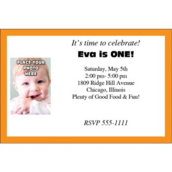 Orange Border Photo Logo Personalized Invitations