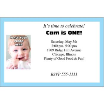 Light Blue Border Photo Logo Personalized Invitations