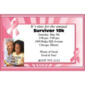 Pink Ribbon Photo Personalized Invitations