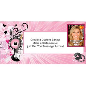 Pink Rocker Custom Photo Banner