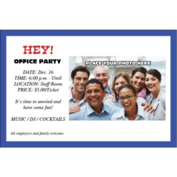 Blue Border Group Personalized Photo Invitations