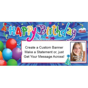 Happy Birthday Confetti Custom Photo Banner