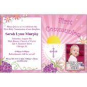 Girls First Communion Custom Photo Personalized Invitations