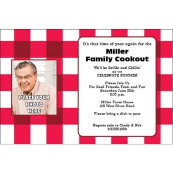 Red Gingham Check Custom Photo Personalized Invitations