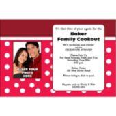 Red Polka Dots  Custom Photo Personalized Invitations