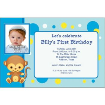 Monkey Blue Custom Photo Personalized Invitations