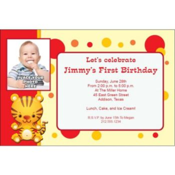 Tiger Red Custom Photo Personalized Invitations