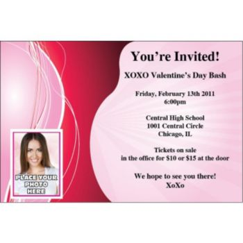 Design in Pink and Red Custom Photo Personalized Invitations