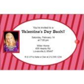 Valentine's Stripes Custom Photo Personalized Invitations