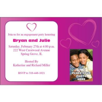 Purple Hearts Custom Photo Personalized Invitations