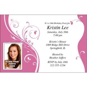 Pink Sophisticate Custom Photo Personalized Invitations