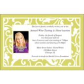 Lime Scroll Custom Photo Personalized Invitations