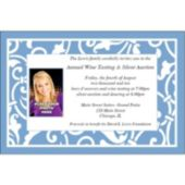 Blue Scroll Custom Photo Invitations