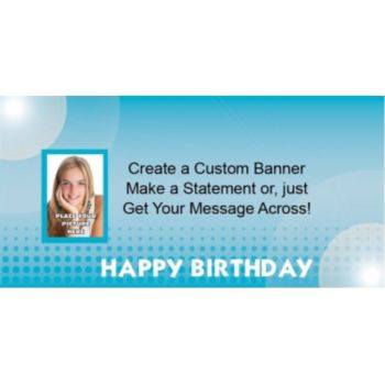 Blue Birthday Dots Custom Photo Banner