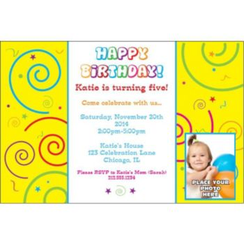 Confetti Birthday Custom Photo Personalized Invitations