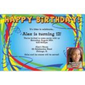 Birthday Ribbons Custom Photo Personalized Invitations
