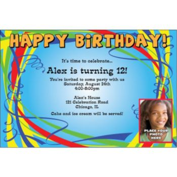 Birthday Ribbons Custom Photo Personalized Invitations