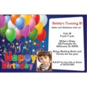 Balloons on Blue Custom Photo Personalized Invitations