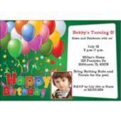 Balloons on Green Custom Photo Personalized Invitations