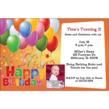 Balloons on Orange Custom Photo Personalized Invitations