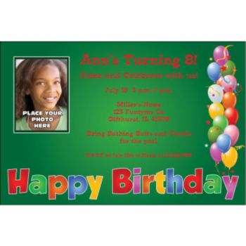 Balloon Birthday Green Custom Photo Personalized Invitations
