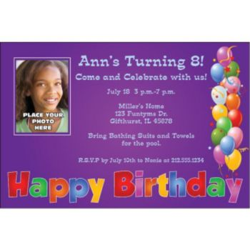 Balloon Birthday Purple Custom Photo Personalized Invitations