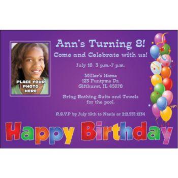 Balloon Birthday Purple Custom Photo Personalized Invitations