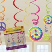 60's Groovy Swirl Decorations-12 Pack