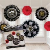 Hollywood Paper Fan Decorations-6 Pack