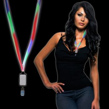 Multi-Color LED Lanyard with Badge Clip
