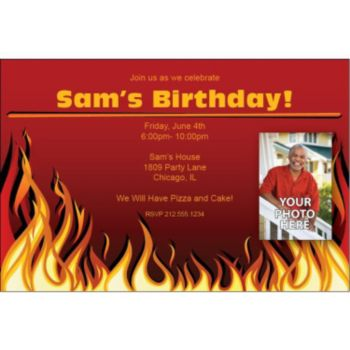 Red Hot Flames Custom Photo Invitations