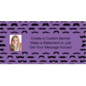 Mustache Mania Purple Custom Photo Banner