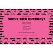 Mustache Mania Pink Personalized Invitations