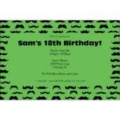 Mustache Mania Green Personalized Invitations