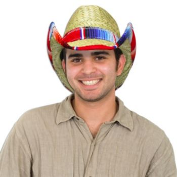 Natural Straw Cowboy Hat with Serape Trim