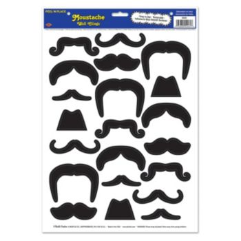 Assorted Peel and Place Mustache Wall Clings - 21 Pack