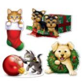 Puppy & Kitten Christmas Cutouts-4 Pack