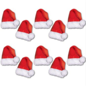 Mini Santa Hat Cutouts - 10 Pack