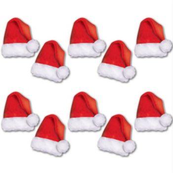 Mini Santa Hat Cutouts - 10 Pack