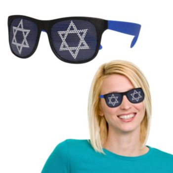 Neon Blue Star of David Billboard Sunglasses