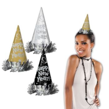 Happy New Year Glitter Cone Hats - 12 Pack