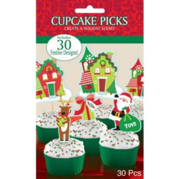 Christmas Cupcake Picks - 30 Pack