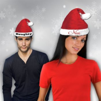 Naughty and Nice Santa Hat Set - 2 Pack