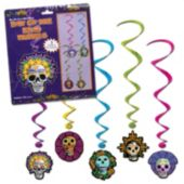 Day Of The Dead Whirl Decorations-5 Pack