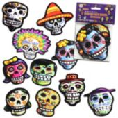 Day Of The Dead Sugar Skull Cutouts-10 Pack