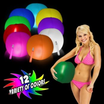12 Inch Blow Up Inflatable Green Glowing Beach Ball