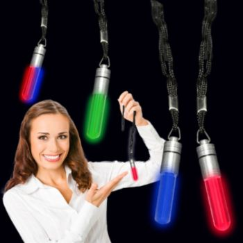 Green LED Light Up Pendant Attached to Lanyard