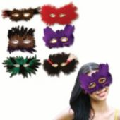 Assorted Feather Masks - 12 Pack