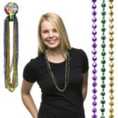 "Mardi Gras Bead Faceted Necklaces-33""-12 Pack"