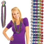 "Multi ColorDice Bead Necklaces-33""-12 Pack"
